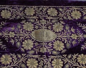 French 19 C. Silk Velvet Embroidered Panel - worldlyandwise