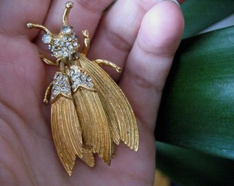 Hattie Carnegie Golden Flying Insect Brooch