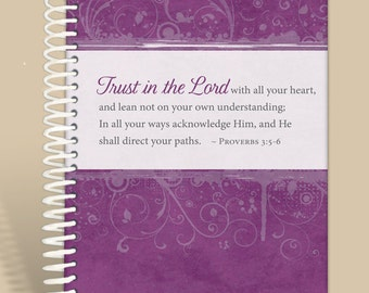 Purple Grunge / Christian Gift / Prayer Journal Personalized