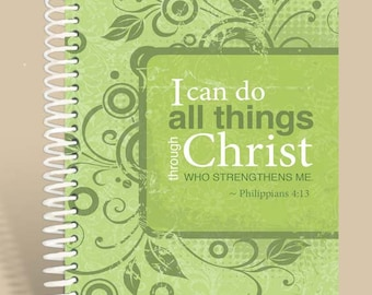 Personalized Notebook / Prayer Journal - Lime Green - Philippians 4:13