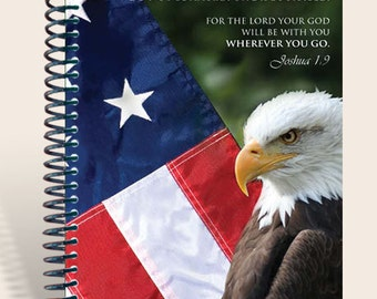 Personalized Gift / Prayer Journal  - Patriotic  Joshua 1:9