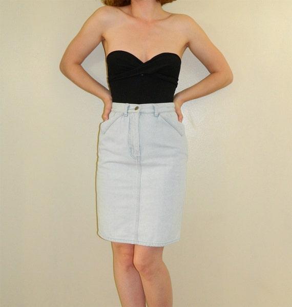 80s denim skirt light blue jean skirt xs s by
