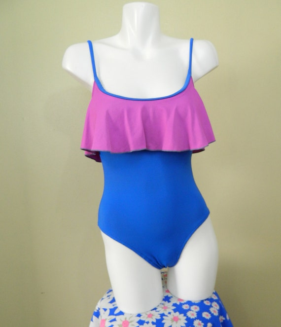 Vintage Onepiece Swimsuit Two Tone Ruffle Bathing Suit Small