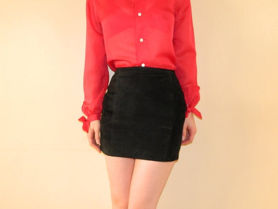 80s Suede Micro Mini Skirt Black Leather XS