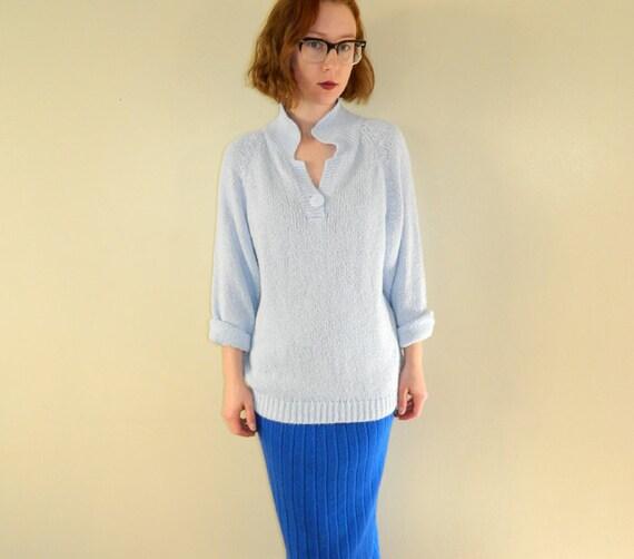 1980s Oversized Sweater Periwinkle Blue Medium