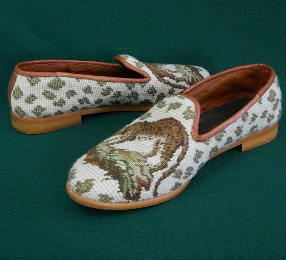 Vintage Loafers Needlepoint Tiger Shoes Size 7