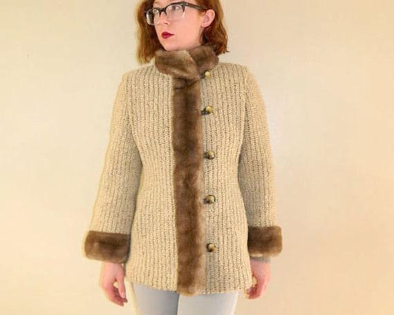 1970s Sweater Coat Fur & Leather Trim Beige Small