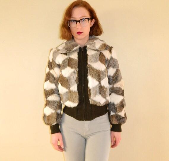 70s Fur Coat Knit Trim Brown Ash Patch Rabbit Small