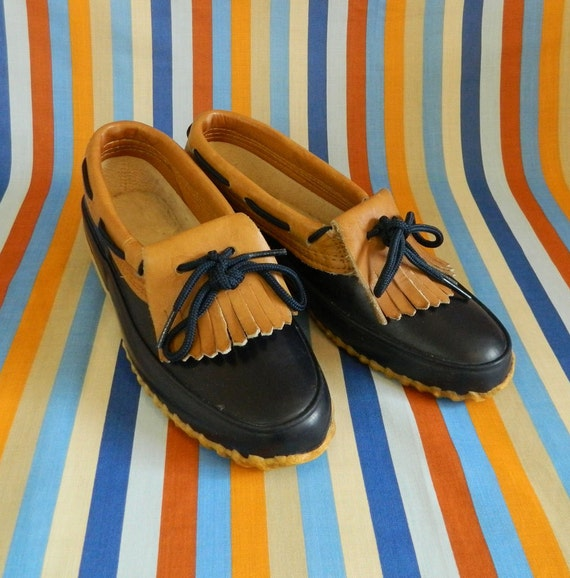 Vintage Rubber Duck Rain Boots Navy Leather Size 7