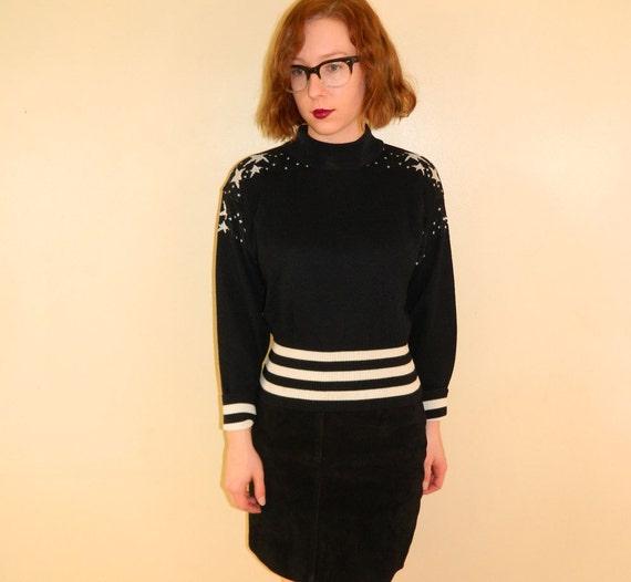 1970s Stars Sweater Striped Silver Black Small SALE