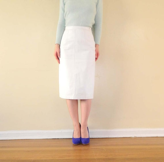 white leather skirt high waist pencil skirt by