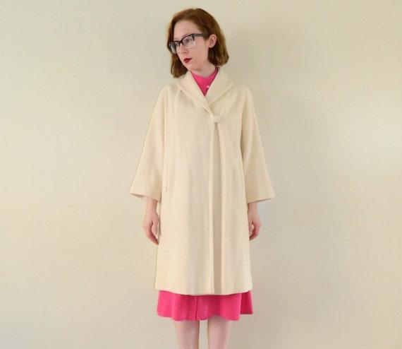 Cashmere Coat Soft Vanilla Creme 1960s Swing Coat Medium
