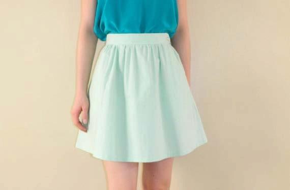 Circle Skirt Short Full Skirt Pistachio Green Medium