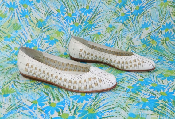 White Flats Leather Woven Size 7