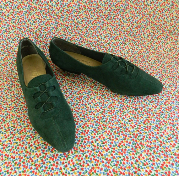 Green Suede Shoes Pixie Green Size 7.5