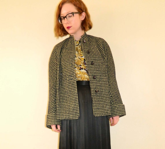 RESERVED Houndstooth Coat Black Yellow Vintage 1960s Mod Medium SALE