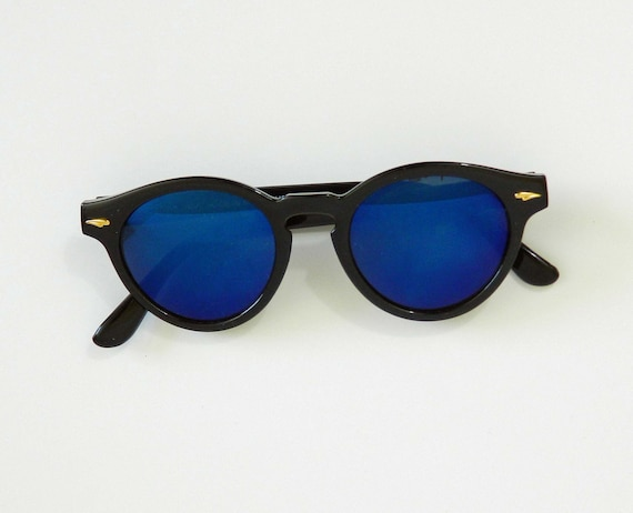 1980s Round Black Sunglasses Blue Blocker Mirrored Shades