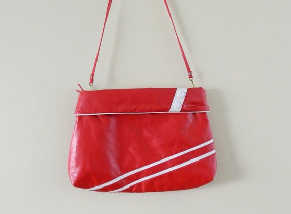 1980s Big Red Purse White Striped Buttons