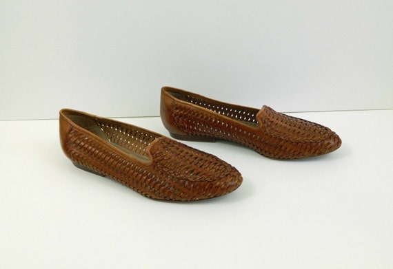 Loafers Woven Leather Brown Size 7.5M