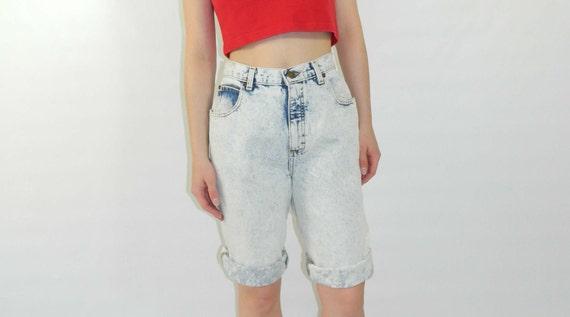 Stonewashed Denim Shorts 80s Blue Long Large SALE