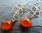 Orange Chalcedony Briolette and Gold Multi Teardrop Earrings