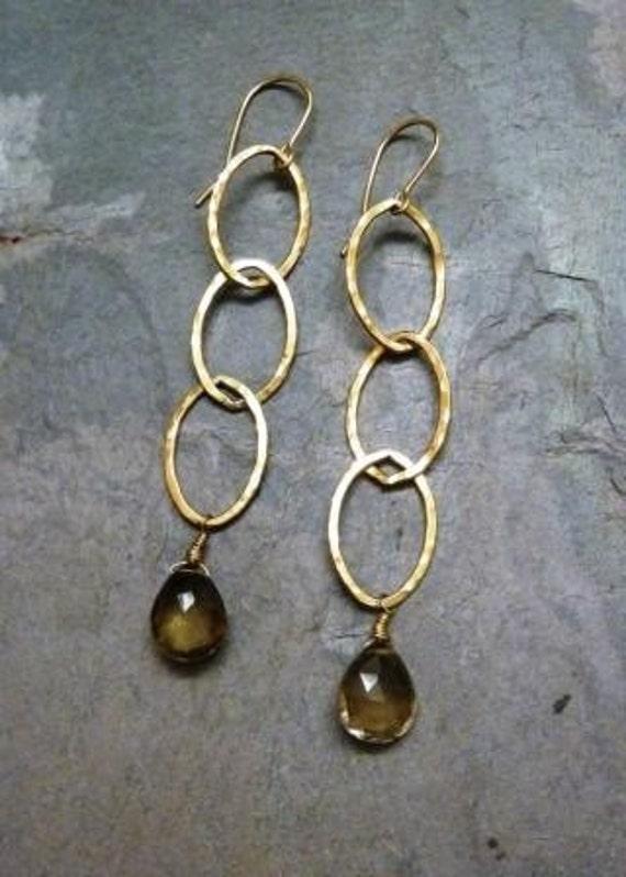 Smokey Quartz Gold Hammered Chain Earrings