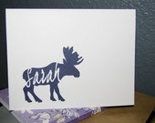Personalized Note Cards - Moose (8) Choose Color