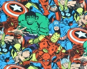 One third Yard Superhero Fabric , Comic Pack Marvel Comics , the Hulk , Spiderman Captain America