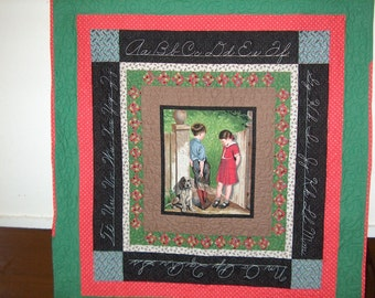 Handmade Fabric Wall Hanging Handmade Quilt School Days Vintage Look Wall Hanging  Puppy Love Panel Quilt