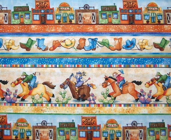 Reserved, 1.75 yards Cowboys, Cowgirls Fabric, Horsing Around,  for quilting and sewing