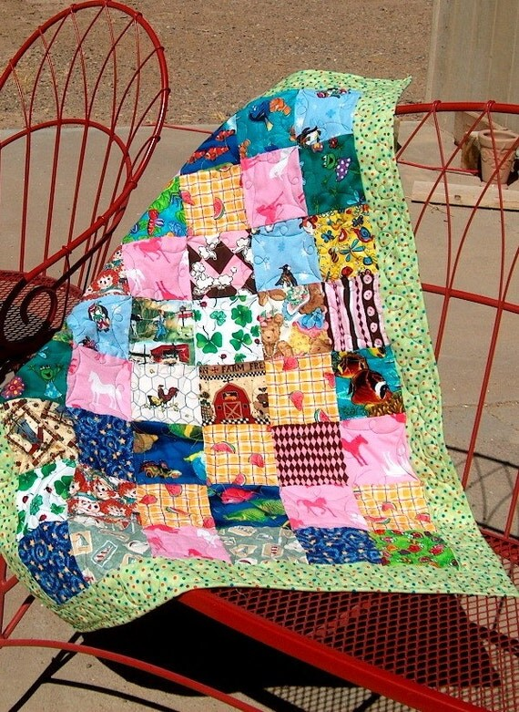 Baby Quilt, Patchwork Squares, I Spy for Baby