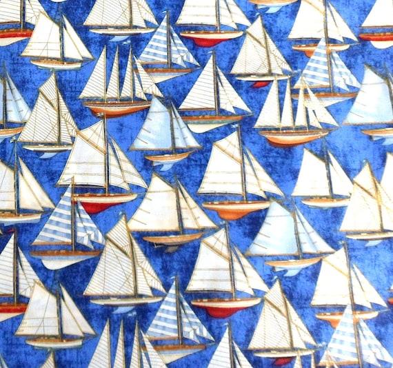 Sailboat Fabric , Nautical Fabric Sailing Ships Fabric , Anchors Aweigh , RJR Fabrics