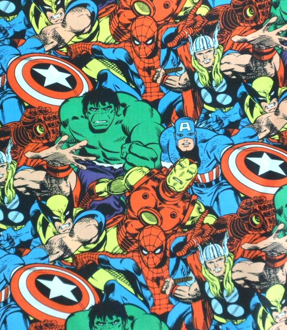 Reserved for Tess, 3 yards Superhero Fabric, Marvel Comics, the Hulk, Spiderman