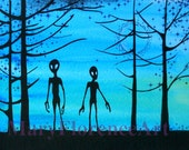 Aliens - Fantasy Art  - 10 x 8 Hand Painted Print.