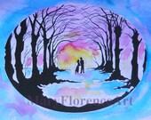 Lovers - Romantic Art  - 10 x 8 Hand Painted Print.