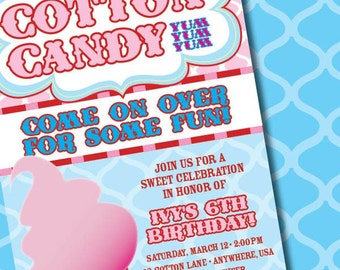 DIY Printable So Sweet Cotton Candy Birthday Party Invitation