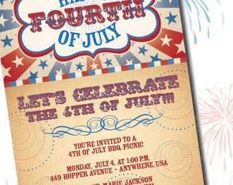 DIY Printable Americana Fourth of July Birthday Invitation