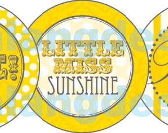 DIY Printable Little Miss Sunshine Cupcake Toppers Favor Tags Party Circles