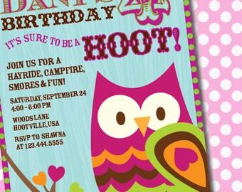 DIY Printable Customizable Owl Birthday Party Invitation