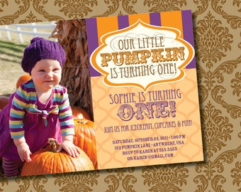 DIY Printable Little Pumpkin Birthday Invitation