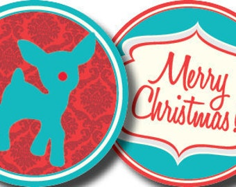 DIY Printable Vintage Rudolph the Red-Nosed Reindeer Christmas Party Circles Cupcake Toppers