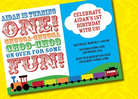 DIY Printable Chugga Chugga Choo Choo Train Birthday Invitation