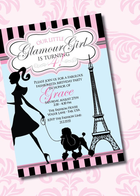 DIY Printable Vintage Glamour Girl Birthday Party Invitation