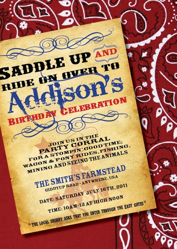 DIY Printable Cowgirl or Cowboy Wild West Inspired Birthday – Wild West Party Invites