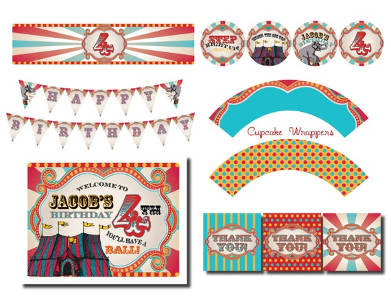 diy printable vintage carnival circus party pack