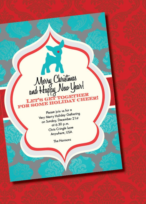 DIY Printable Vintage Rudolph the Red-Nosed Reindeer Christmas Party Invitation