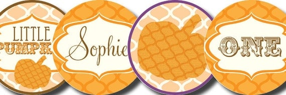 DIY Printable Little Pumpkin Cupcake Toppers Favor Tags Party Circles