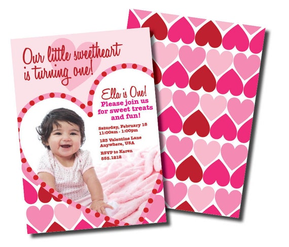 DIY Printable Little Sweetheart Birthday Double Sided Photo Card or Invitation