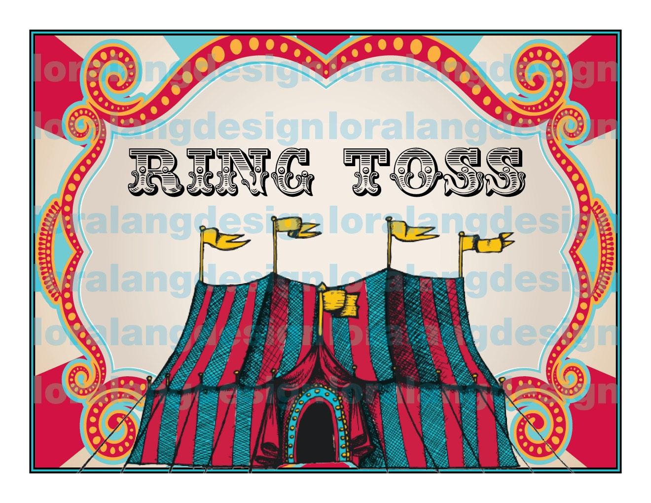 DIY Printable EDITABLE pdf Vintage Carnival Circus Game Sign