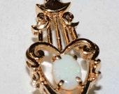 14k Gold Antique Rainbow Stunning genuine OPAL Pendant  Love Heart Deco charm piece-----Vintage Gift sale